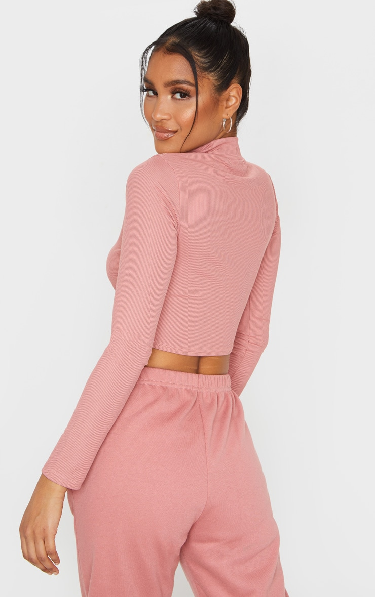 Dusty Pink High Neck Ribbed Long Sleeve Crop Top 2