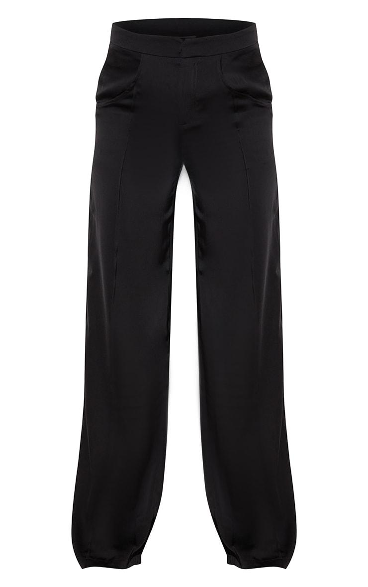 Black Satin Pintuck Pocket Detail Wide Leg Pants 5