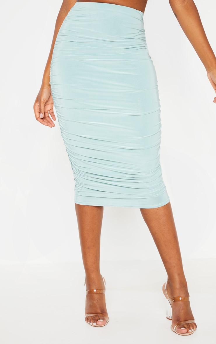Mint Slinky Second Skin Ruched Midi Skirt 2