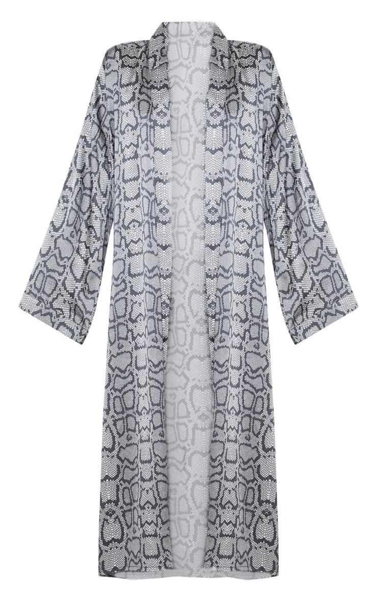 Monochrome Snake Print Long Sleeve Satin Robe 3