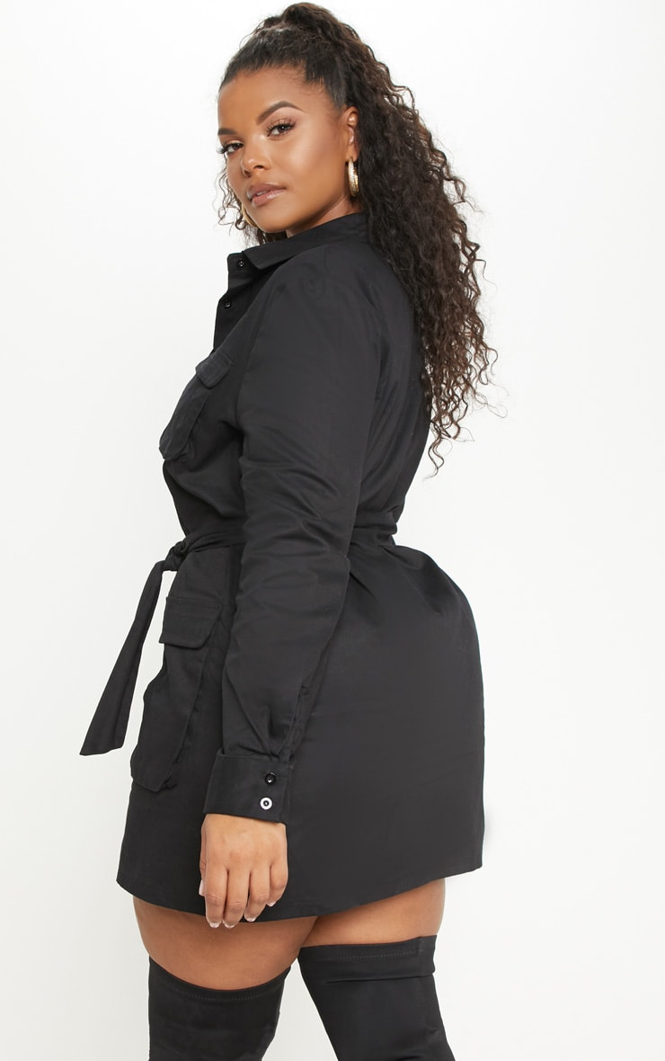 Plus Black Utility Shirt Dress 2