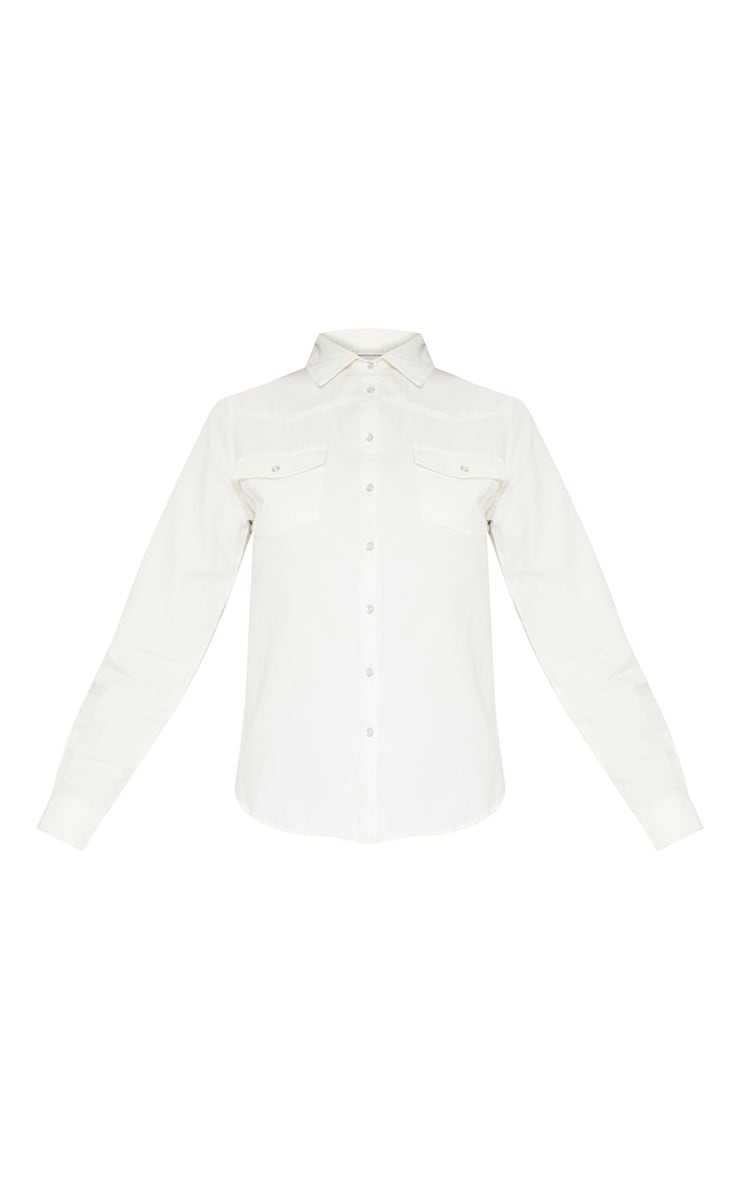 White Western Cropped Denim Shirt  3
