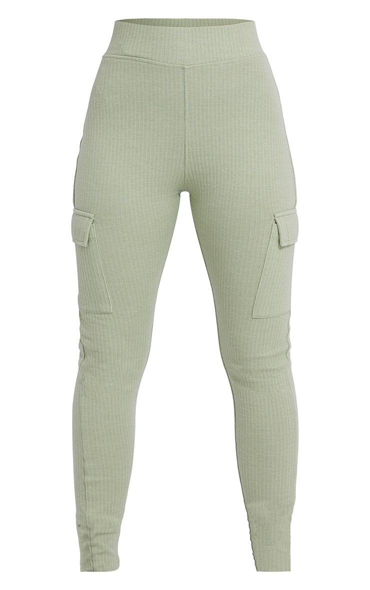 Sage Green Pocket Detail Heavy Ribbed Leggings 5