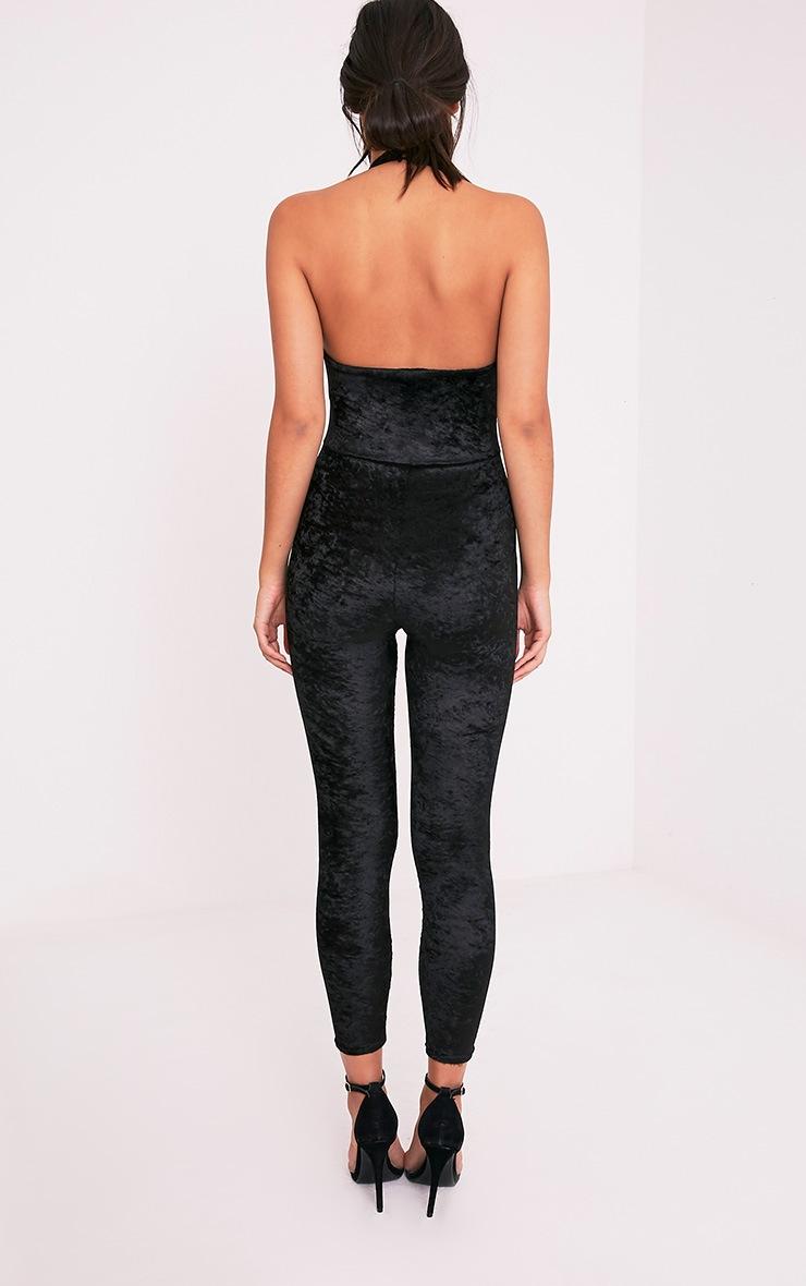 Rubyann Black Velvet Plunge Jumpsuit 2