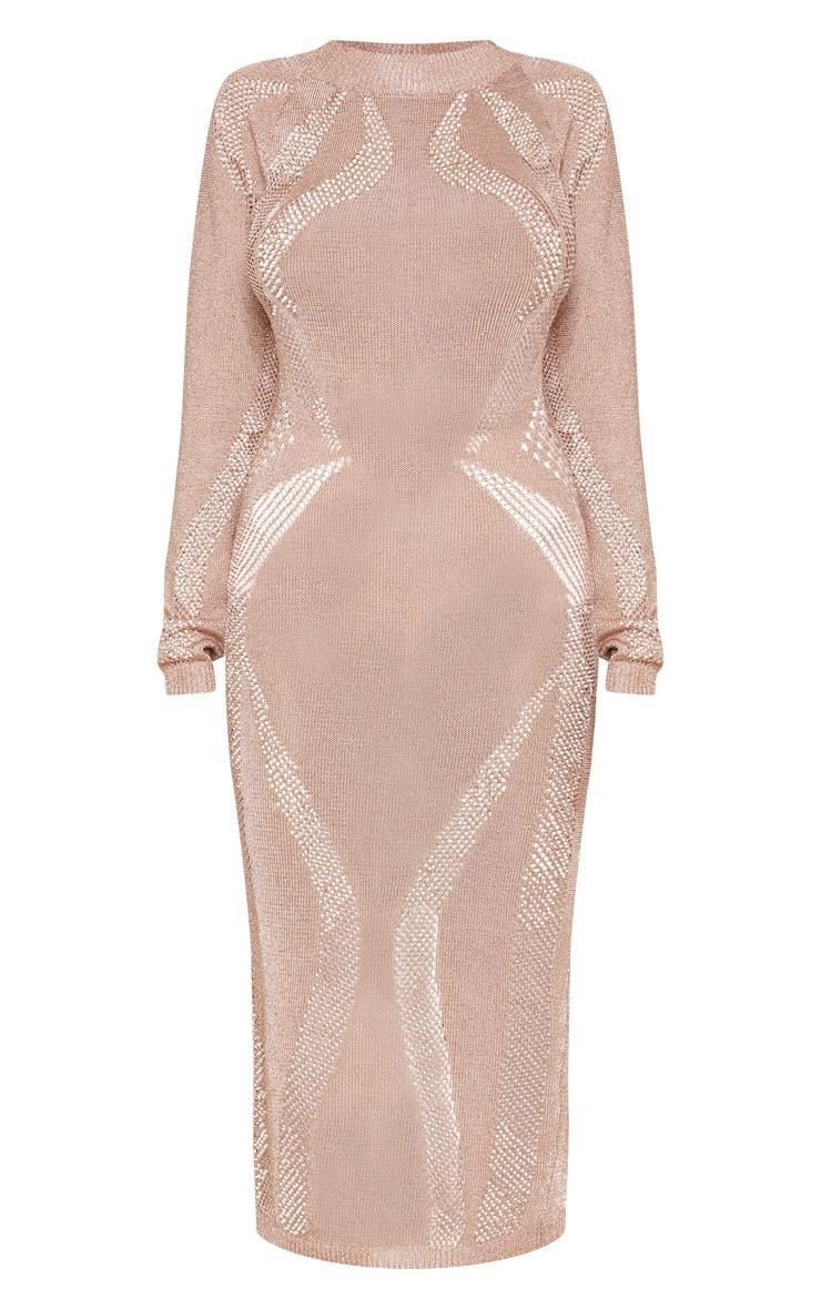 Rose Gold Metallic Midi Cut Out Dress  3