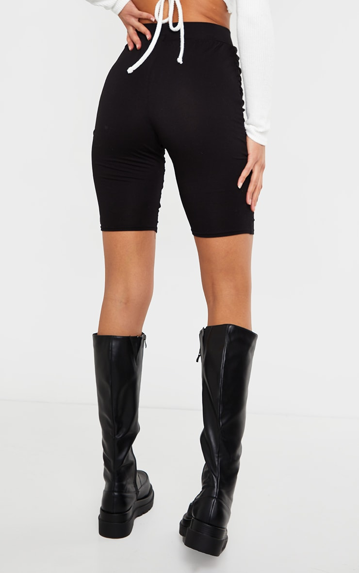 Black Jersey Ruched Bike Shorts 3