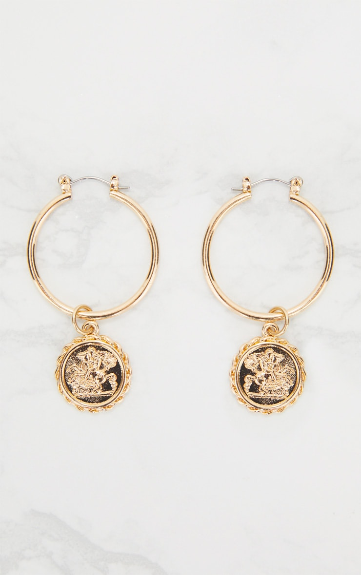 Gold Coin Drop Hoop Earrings 3