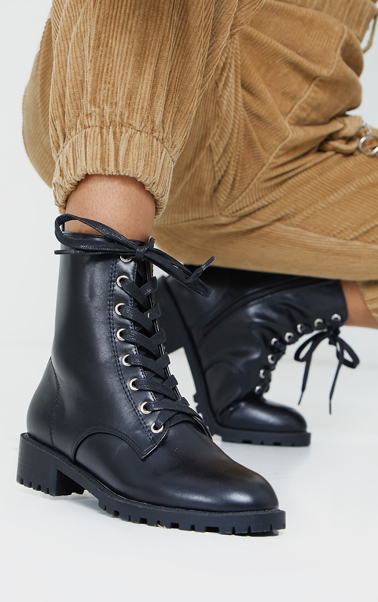 Black Basic PU Biker Boots 2