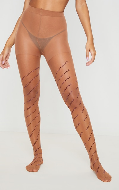 PRETTYLITTLETHING Logo Nude Tonal Tights