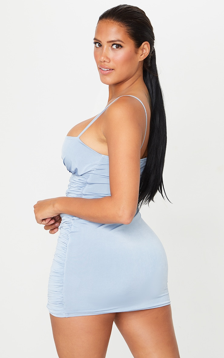 Shape Dusty Blue Slinky Extreme Ruched Bodycon Dress 2