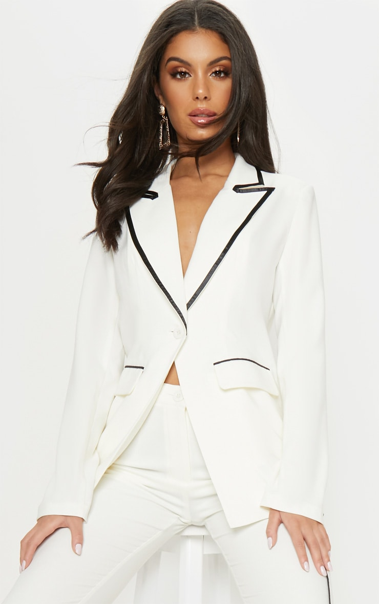 Cream Contrast Trim Blazer 1