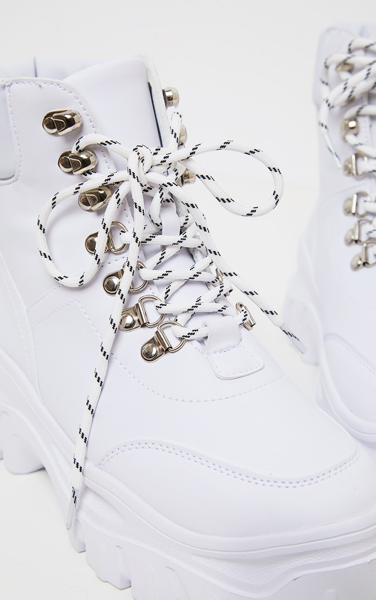 White Flatform Chunky Hiker Boot Sneakers 4