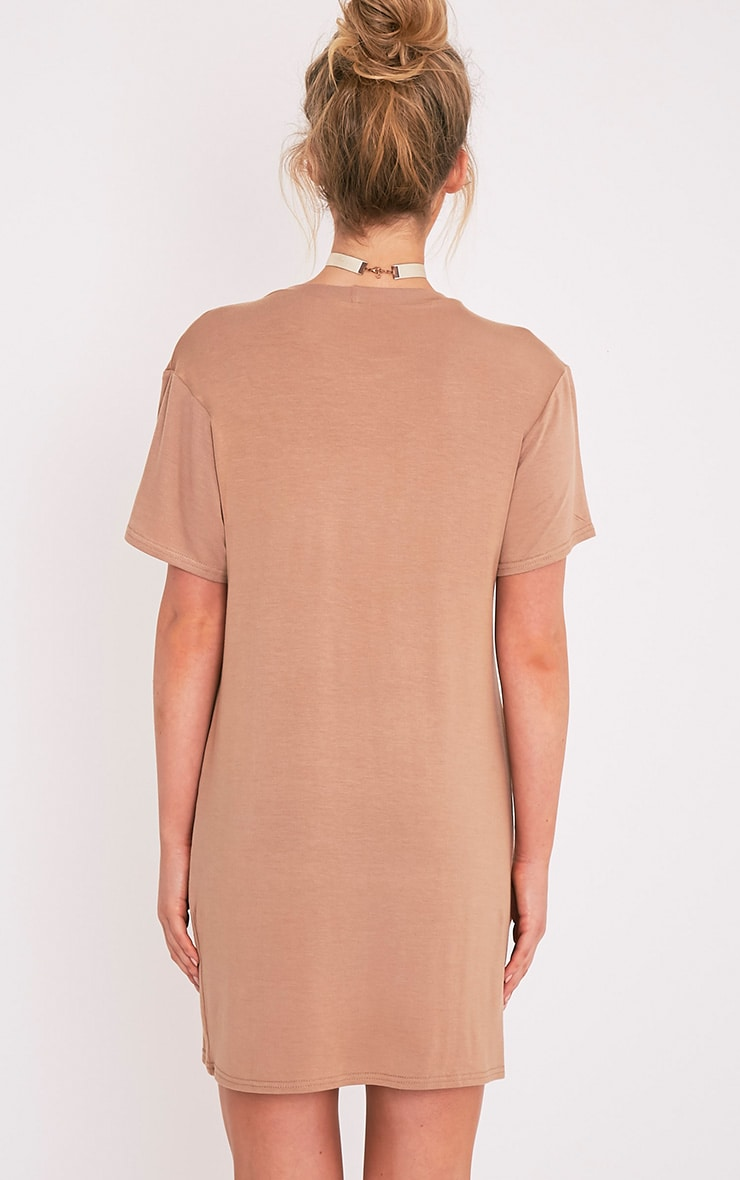 New York Flocked Print Camel T-Shirt Dress 2