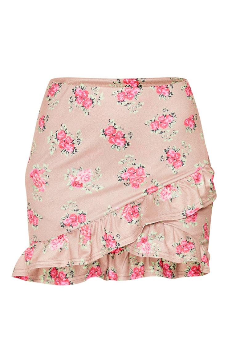 Brown Floral Printed Frill Detail Wrap Mini Skirt 6
