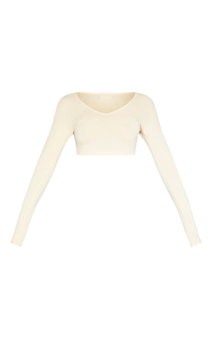 Sand Long Sleeve Plunge Crop Top 3