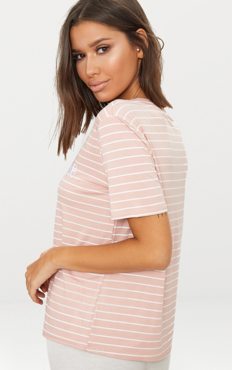 PRETTYLITTLETHING Baby Pink Embroidered Stripe T Shirt  2