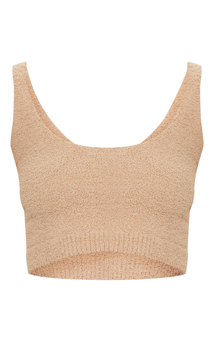 Taupe Chenille Scoop Neck Crop Top 5