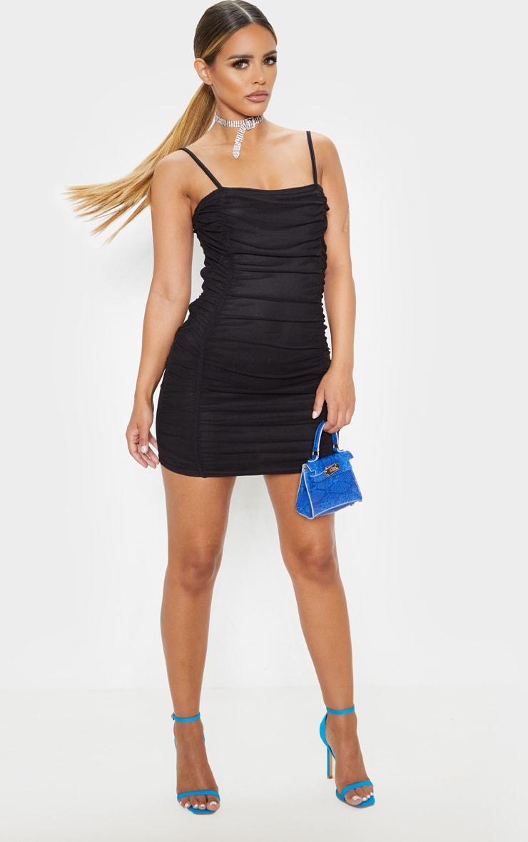 Petite Black Strappy Ruched Front Mini Dress  4