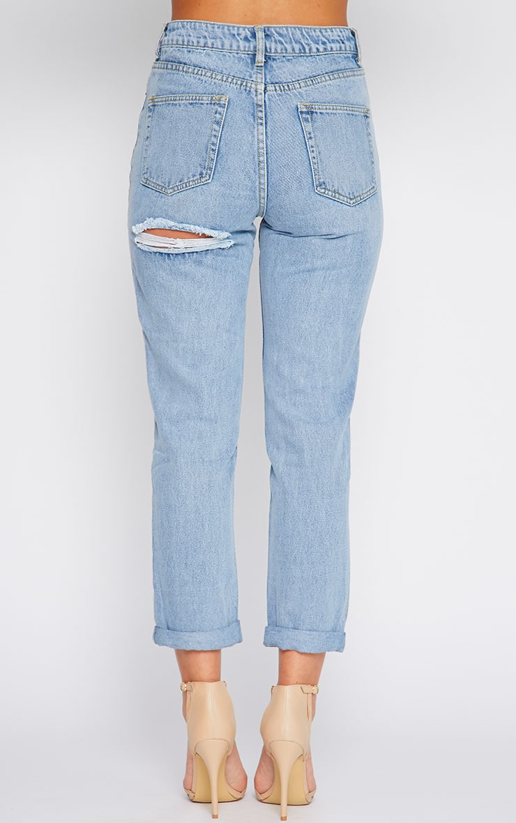 Lisa Light Blue Wash Ripped Mom Jean 2
