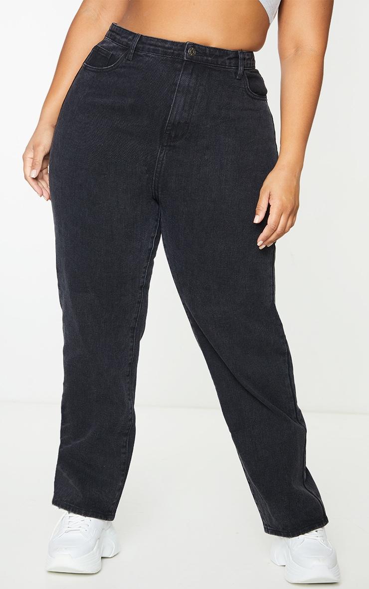 PRETTYLITTLETHING Plus Washed Black Straight Leg Jean 2