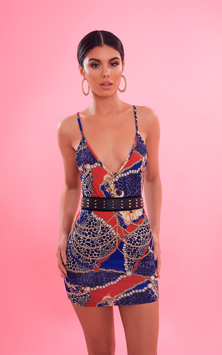 Blue Chain Print Plunge Bodycon Dress  2