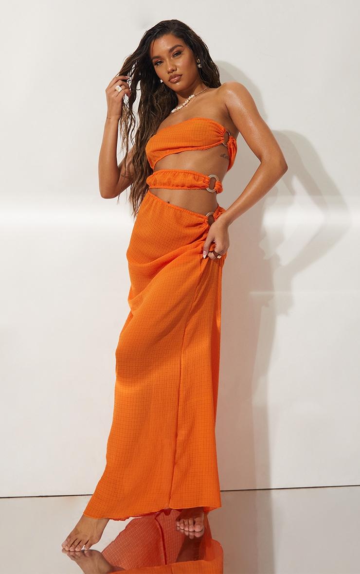 Orange Mini Crinkle Ring Cut Out Beach Dress 1