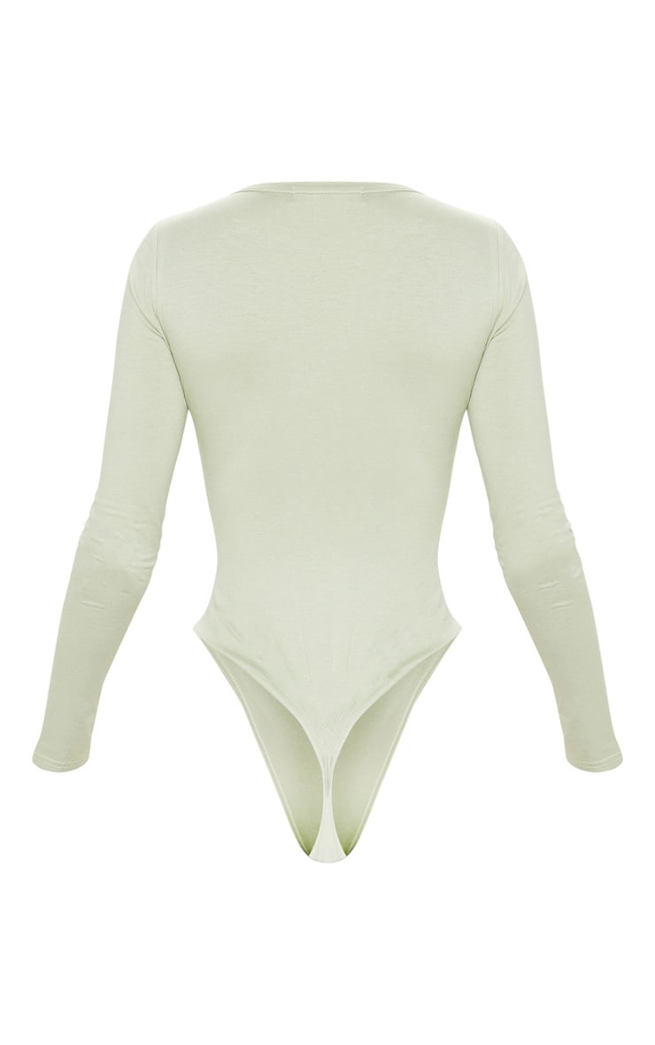 Basic Sage Khaki  Plunge Long Sleeve Bodysuit 4