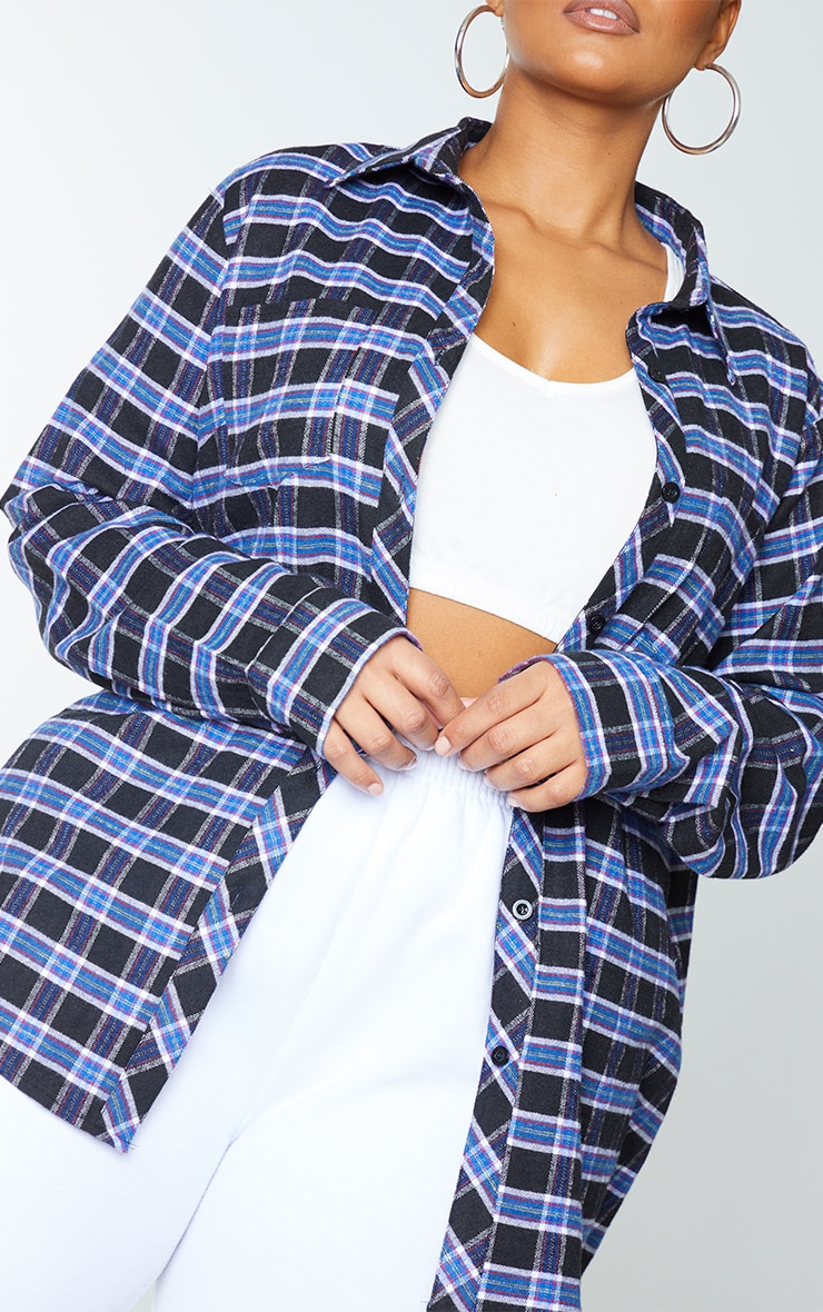 Plus Navy Blue Tartan Oversized Shirt 4
