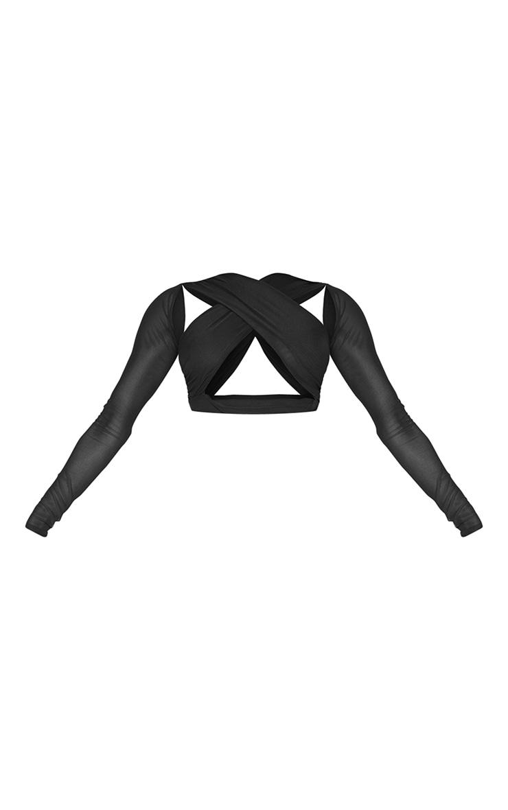 Black Mesh Underbust Cross Front Long Sleeve Crop Top 5