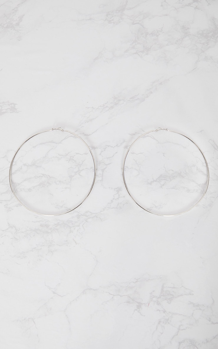 Silver 120mm Large Hoop Earrings 3