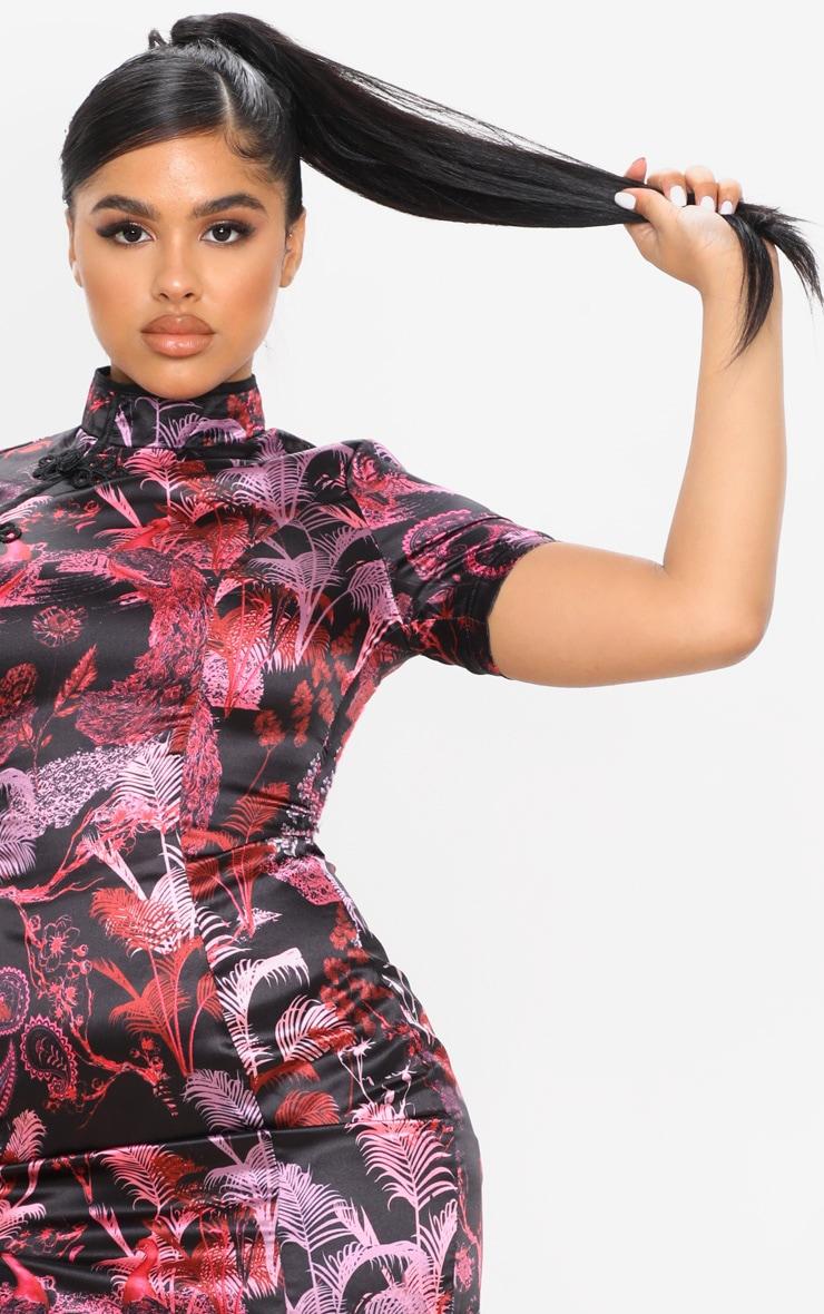 Petite Black Satin Split Mini Dress 5