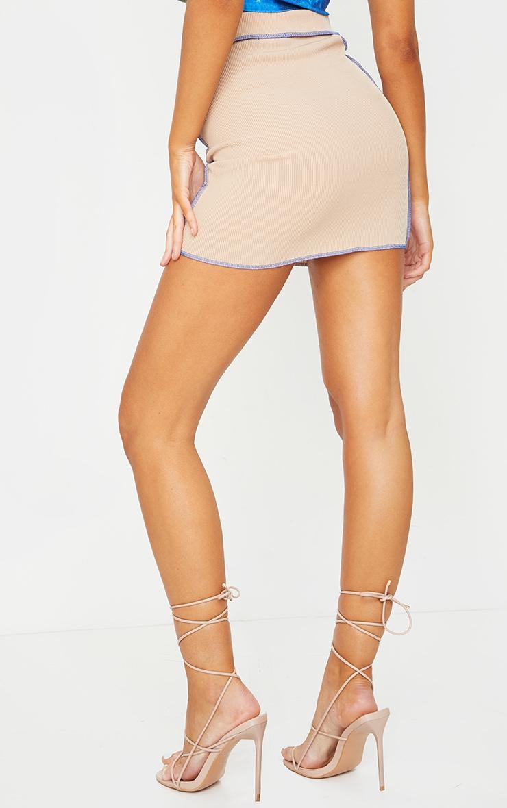 Camel Rib Contrast Seam Detail Mini Skirt 3