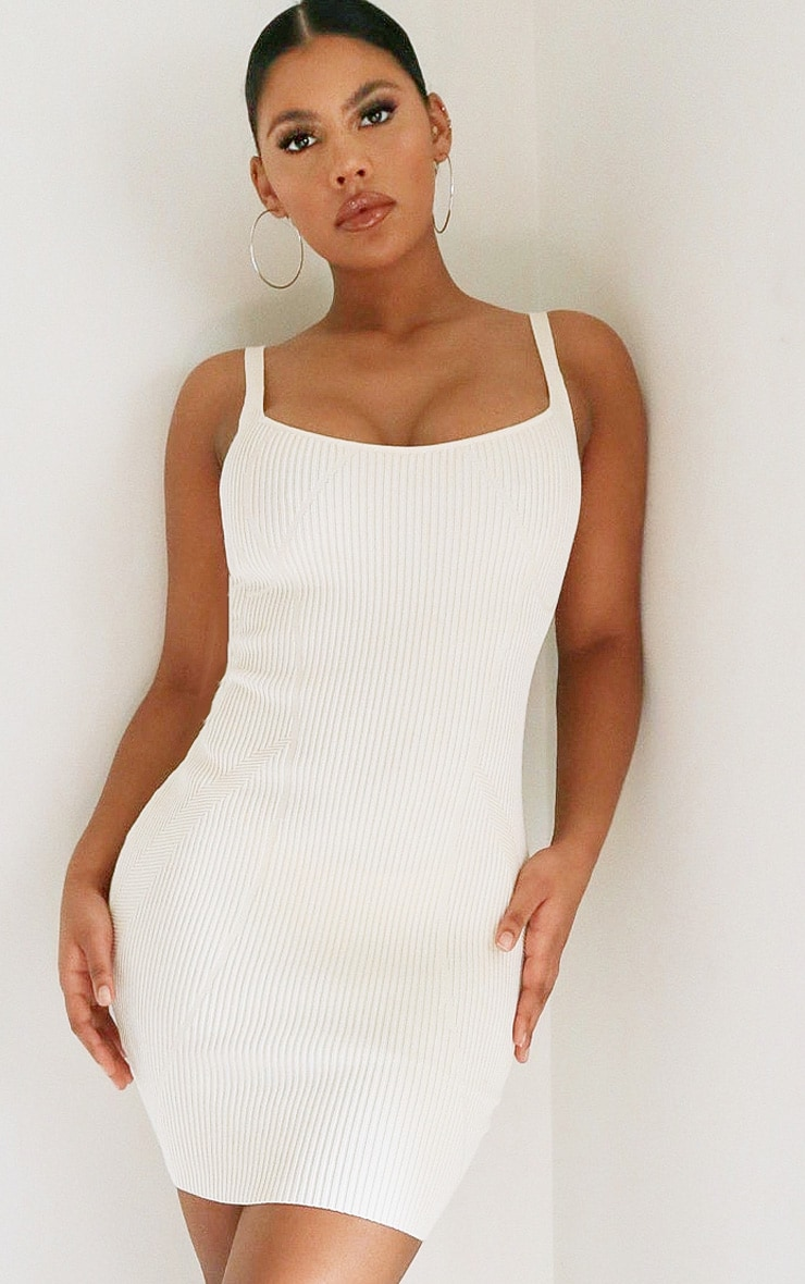 Cream Ribbed Seam Detail Strappy Knitted Dress 1