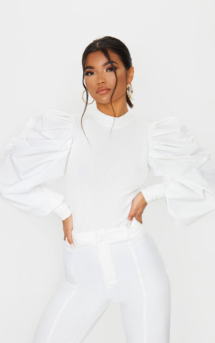 White Pleated Sleeve Jersey Rib Top 1
