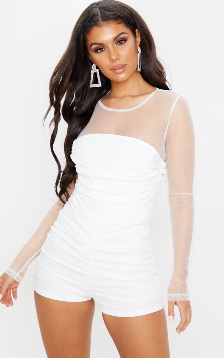 White Mesh Long Sleeve Romper 4