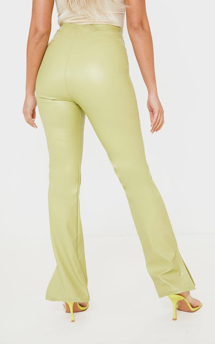 Petite Sage Green PU Split Hem Trousers 3