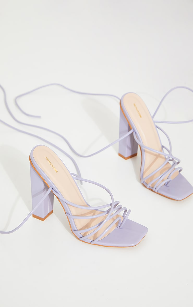 Lilac Strappy Toe Loop Lace Up High Block Heels 3