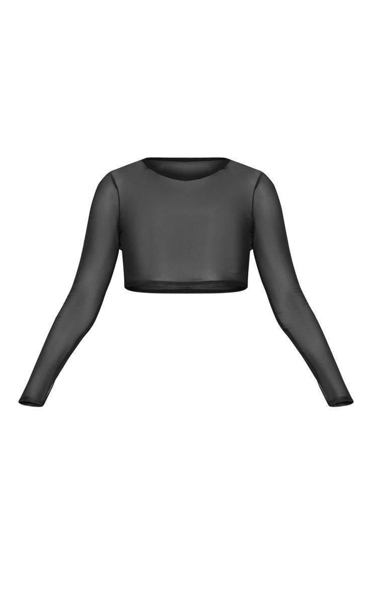 Black Long Sleeve Mesh Beach T-Shirt 3