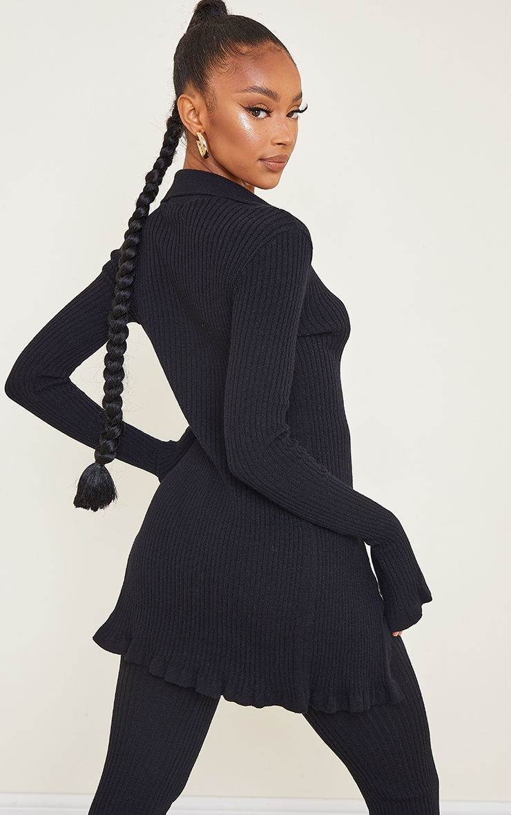 Black Ribbed Knitted Long Sleeve Cardigan 2
