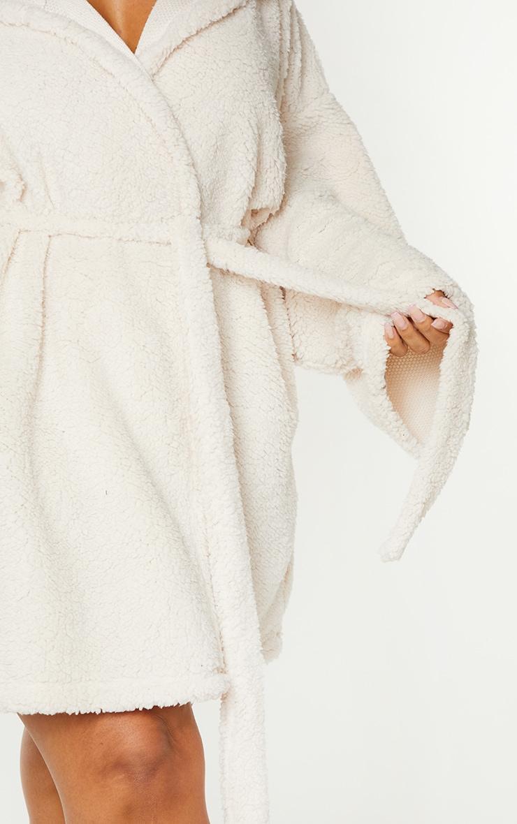 Plus Cream Borg Dressing Gown 4