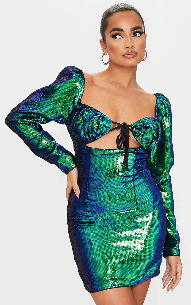 Petite Emerald Green Ruched Puff Sleeve Bodycon Dress 4