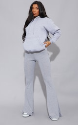 Grey Basic Jersey Flared Pants 1