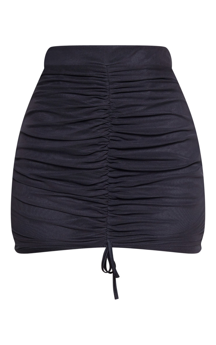 Black Mesh Ruched Front Mini Skirt 3