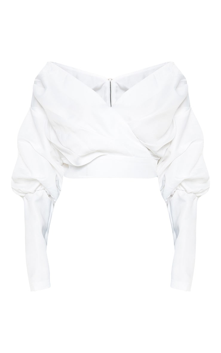 White Woven Puff Sleeve Crop Shirt 3