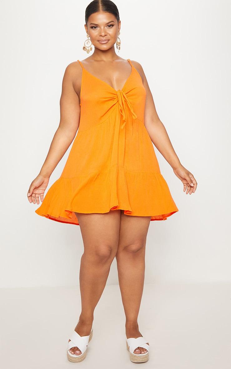 Plus Orange Cheesecloth Strappy Swing Dress 4