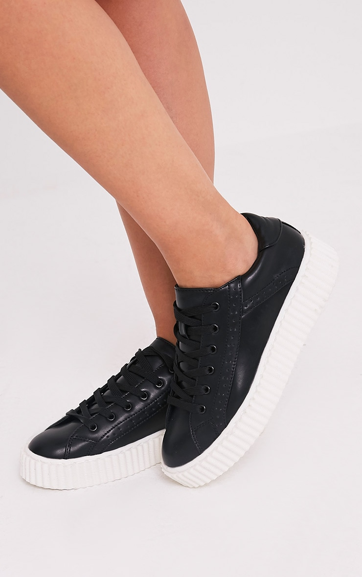 Lorena Black PU Creeper Trainers 2