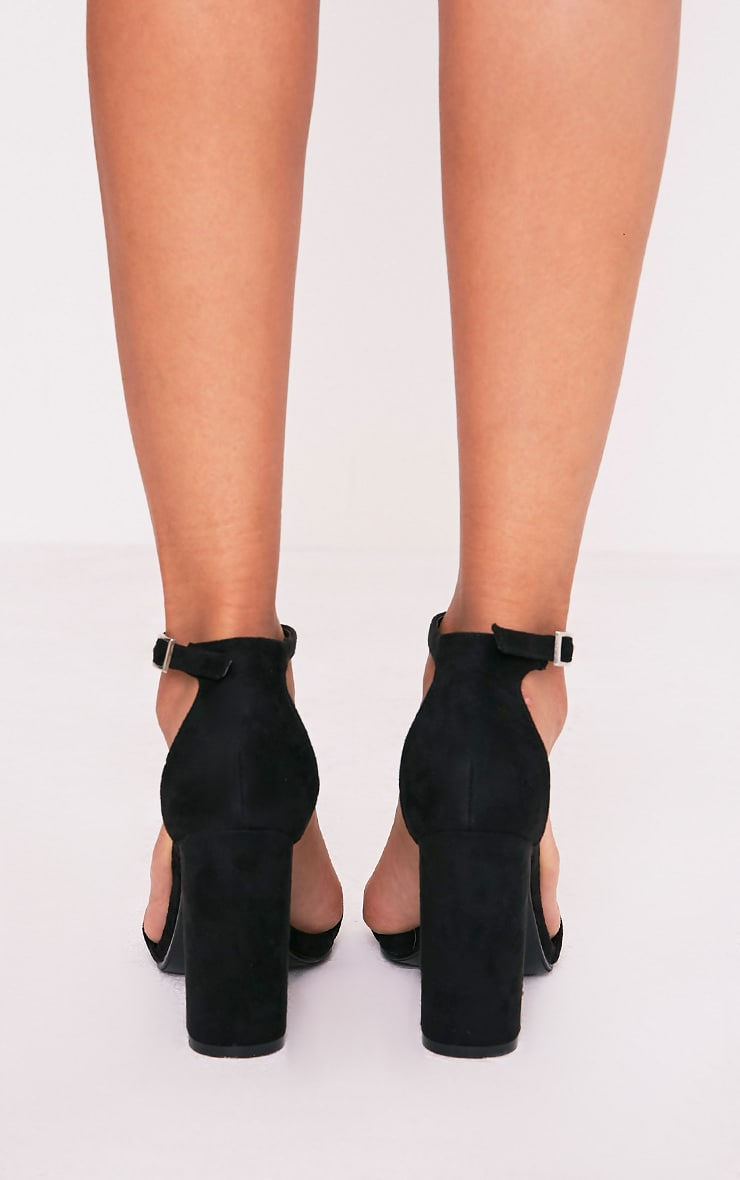 May Black Faux Suede Block Heeled Sandals 4