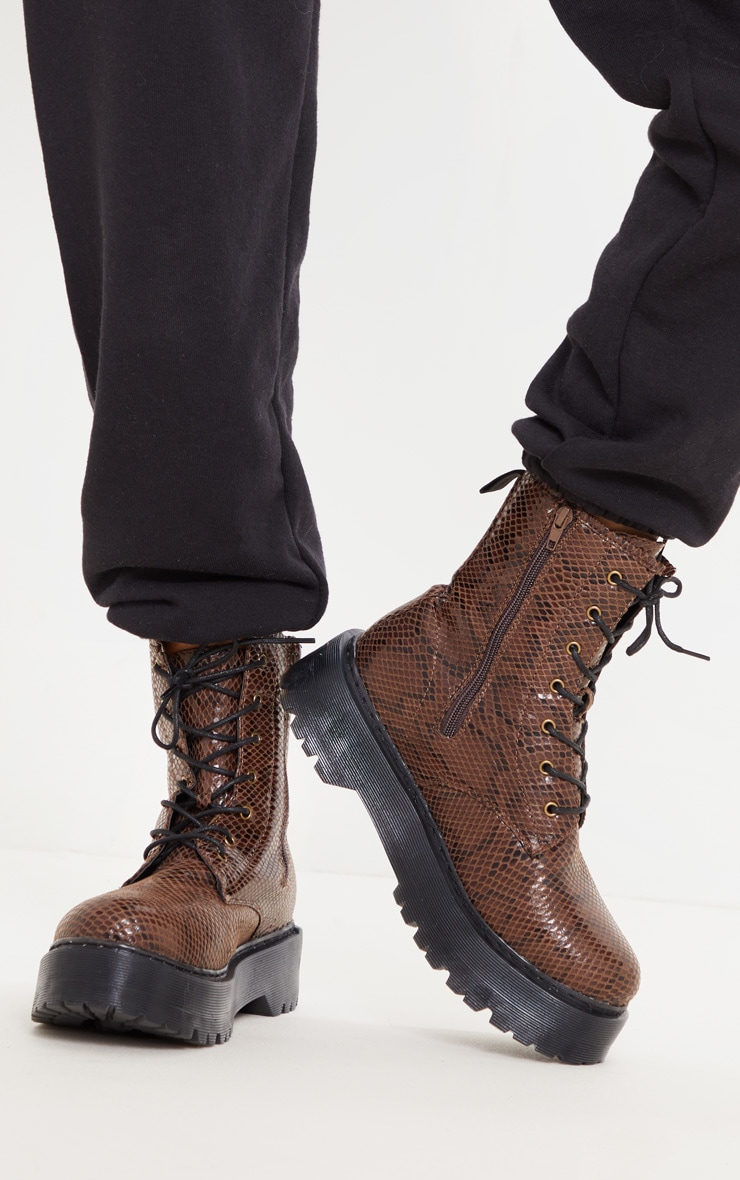 Brown Snake Wide Fit Chunky Sole Lace Up Ankle Boot 3