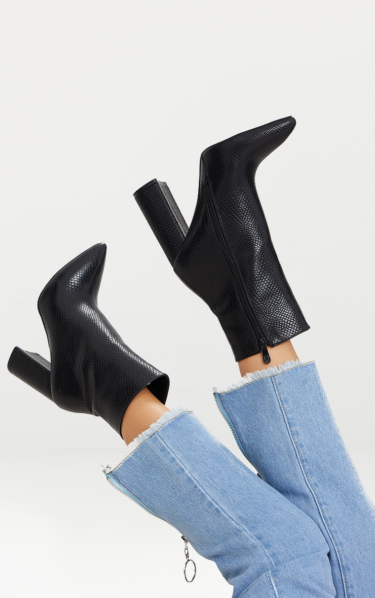 Black High Point Ankle Boot
