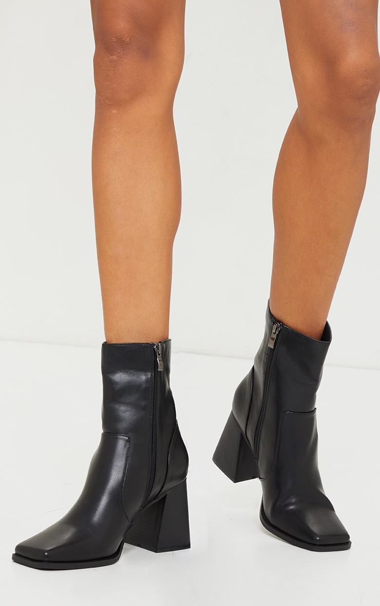 Black Square Toe Flare Block Heel Ankle Boot 2